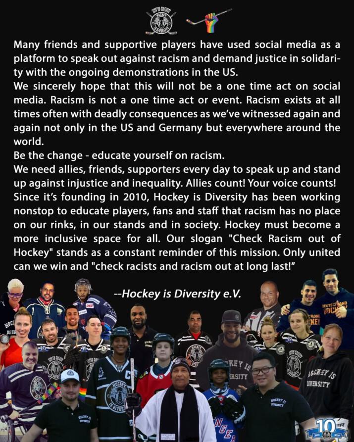 Hockey is Diversity on Black Lives Matter